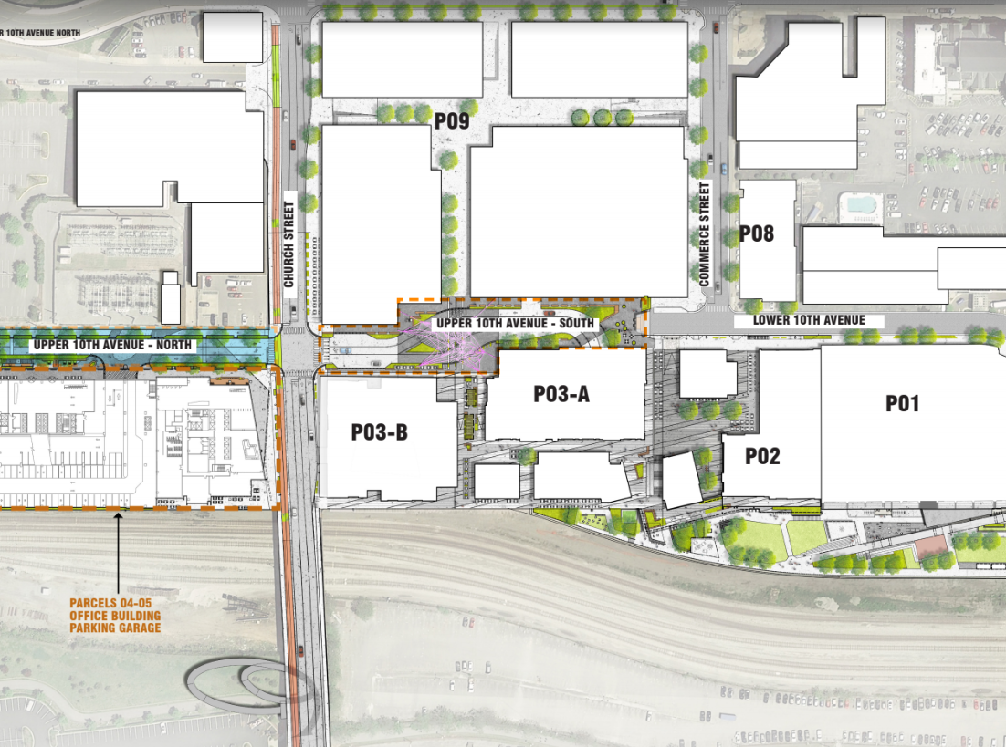 A master plan of the 15-acre Nashville Yards development that will include Amazon's operations center