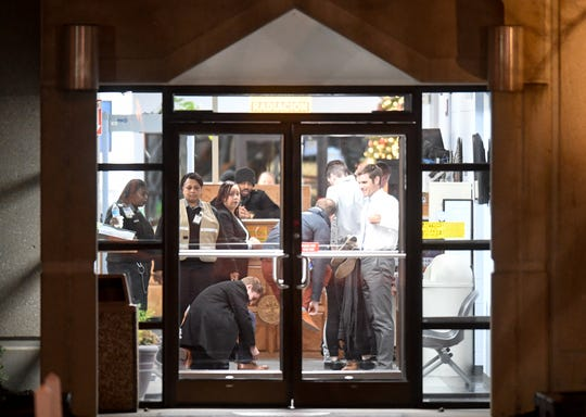 Media witnesses go through security at Riverbend Maximum Security Institution before the execution of Tennessee death row inmate David Earl Miller on Thursday Dec. 6, 2018.