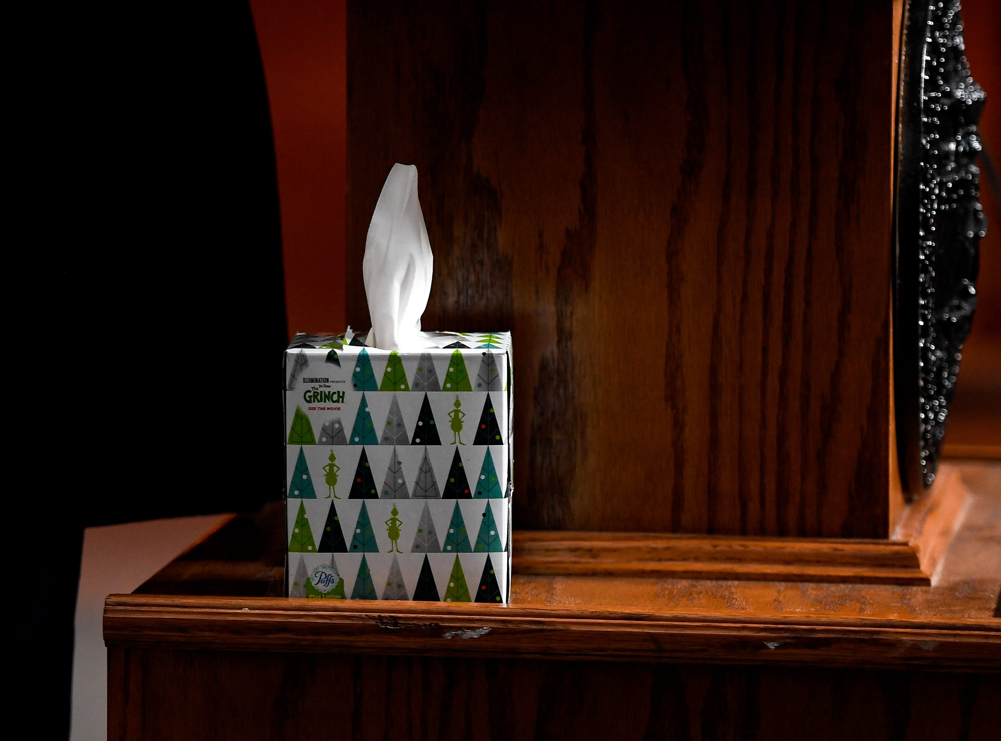 A box of tissues sits on the podium during the news conference outside Riverbend Maximum Security Institution after the execution of Tennessee death row inmate David Earl Miller on Thursday, Dec. 6, 2018 in Nashville, Tenn. Miller was sentenced to death for the 1981 murder of Lee Standifer, 23, in Knoxville.