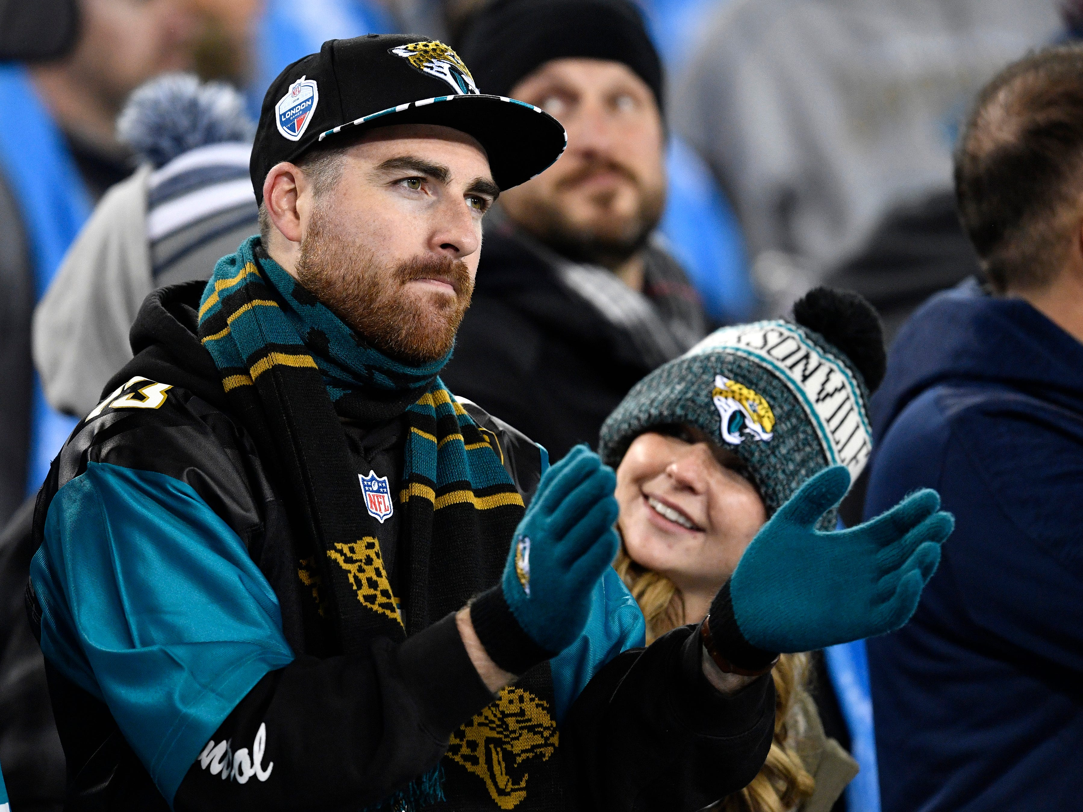 Jags fans watch the first half in the game against the Titans at Nissan Stadium Thursday, Dec. 6, 2018, in Nashville, Tenn.