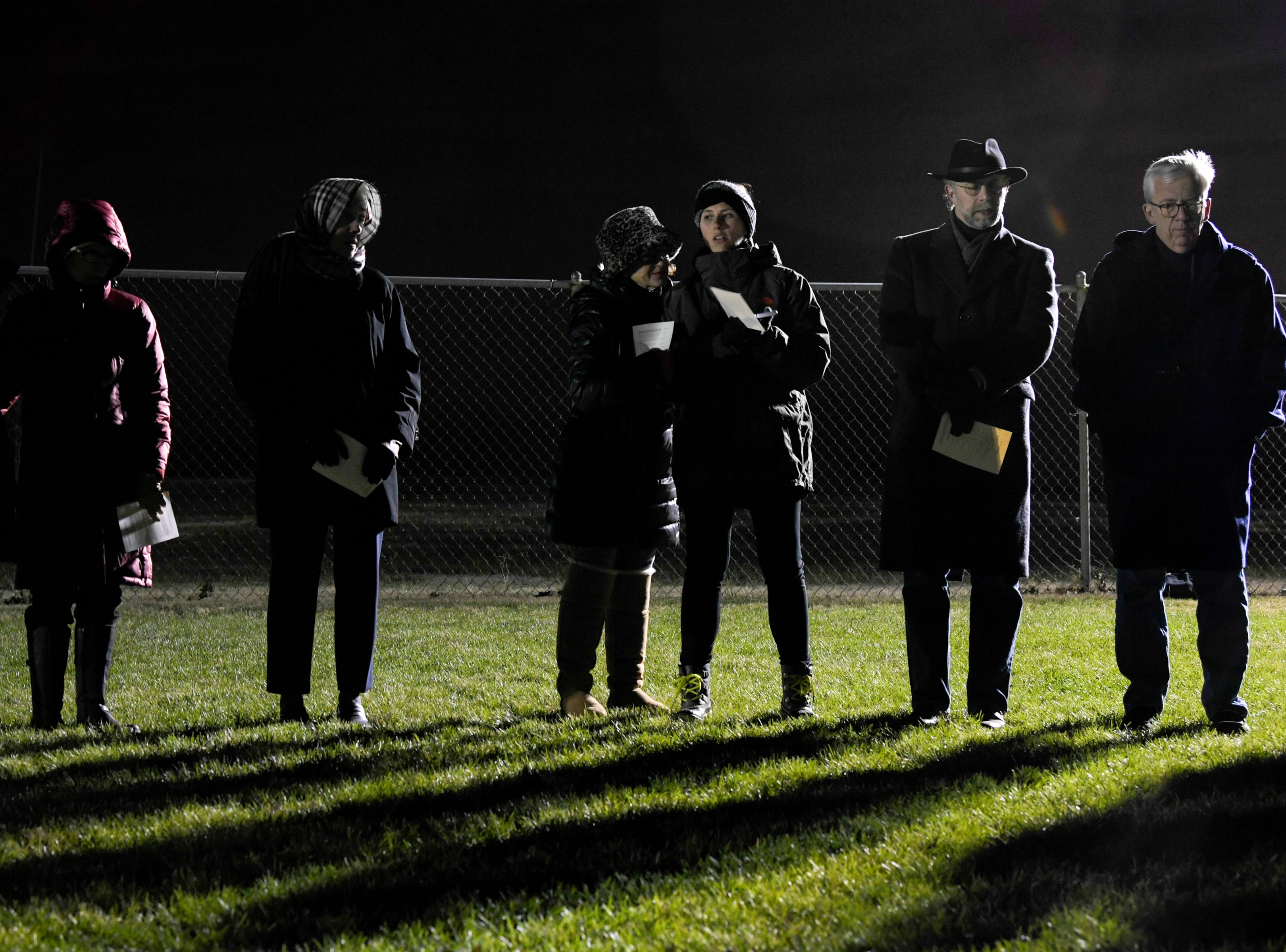Protesters against the death penalty gather for song and prayer in a field outside Riverbend Maximum Security Institution before the execution of Tennessee death row inmate David Earl Miller on Thursday, Dec. 6, 2018 in Nashville, Tenn. Miller was sentenced to death for the 1981 murder of Lee Standifer, 23, in Knoxville.