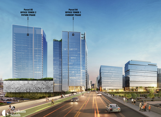 A rendering of two offices towers for Amazon's eastern U.S. operations center in downtown Nashville.