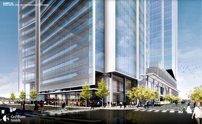 A rendering of Amazon's eastern U.S. operations center in downtown Nashville.