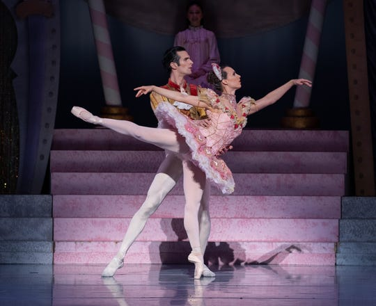 "Owen Thorne as the Sugar Plum Cavalier and Sarah Cordia as the Sugar Plum Fairy in the Nashville Ballet production ""Nashville's Nutcracker."""
