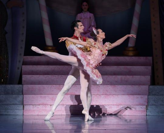 "Owen Thorne as the Sugar Plum Cavalier and Sarah Cordia as the Sugar Plum Fairy in the Nashville Ballet production ""Nashville's Nutcracker."""
