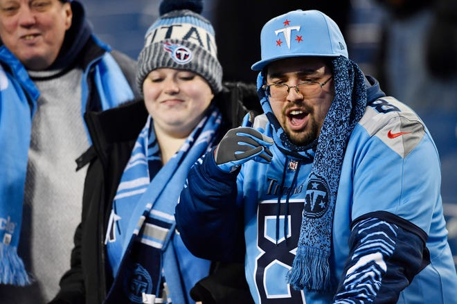 Titans fans watch warmups before the game against the Jaguars at Nissan Stadium Thursday, Dec. 6, 2018, in Nashville, Tenn.