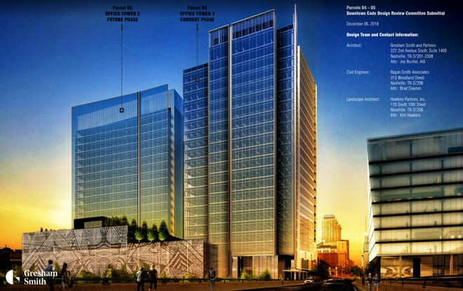 A rendering shows Amazon's planned downtown Nashville hub. Amazon is in line for $15 million in Metro incentives for the hub, which is slated to bring 5,000 jobs.