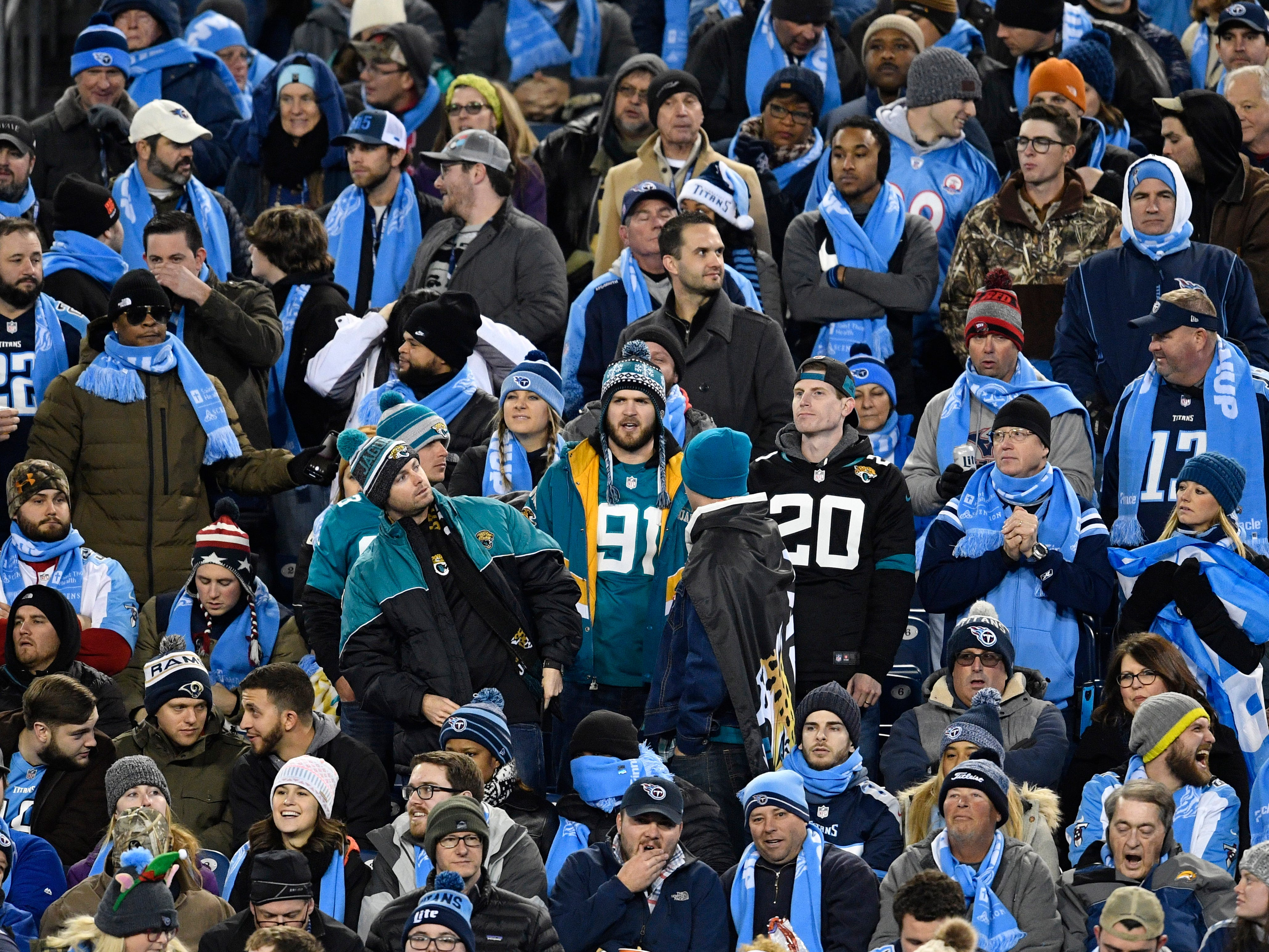 A sea of Titans fans surround a few Jags fans in the first half at Nissan Stadium Thursday, Dec. 6, 2018, in Nashville, Tenn.
