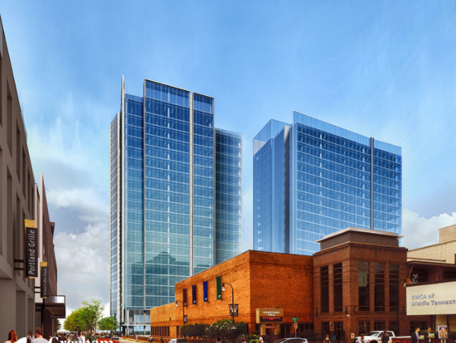 A rendering of two offices towers for Amazon's eastern U.S. operations center in downtown Nashville