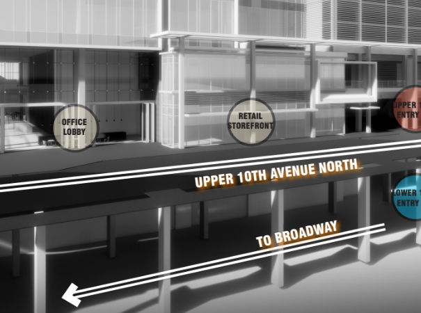 A new roadway will be built above 10th Ave. N. to improve access to buildings and shops