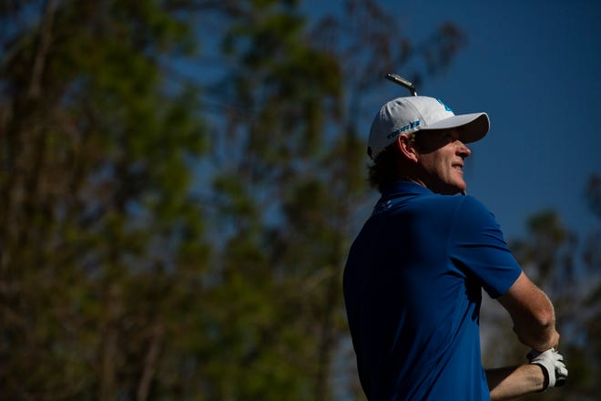 Brandt Snedeker watches his ball after teeing off during the 30th annual QBE Shootout first round Friday.