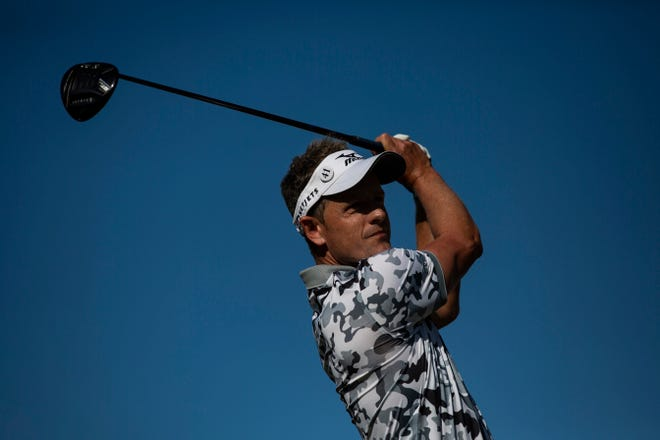 Luke Donald tees the ball during the 30th annual QBE Shootout first round on Friday in Naples.