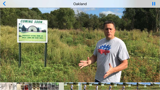 Great Oak Park Committee Chairman Mike Guadagnino at the Great Lawn area cleared of trees this spring.
