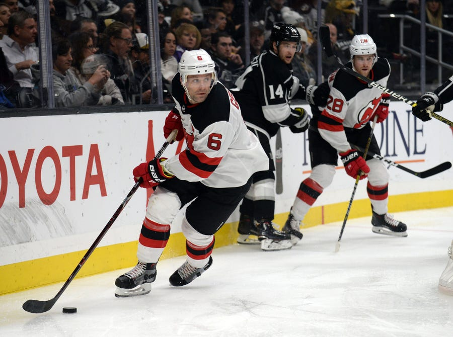 December 6, 2018; Los Angeles, CA, USA; New Jersey Devils defenseman Andy Greene (6) moves the puck against the Los Angeles Kings during the second period at Staples Center.