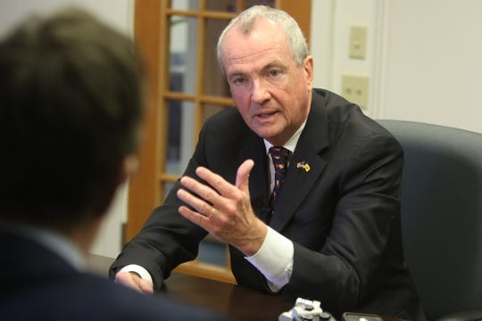 Gov. Phil Murphy answering questions about the Meadowlands power plant with The Record editorial board on Friday, Dec. 7, 2018.