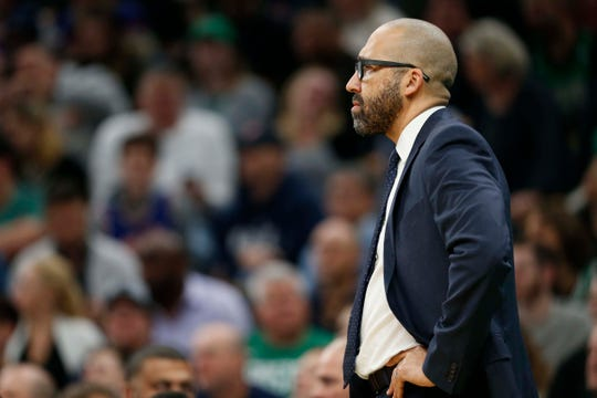 Dec 6, 2018; Boston, MA, USA; New York Knicks head coach David Fizdale during the first half against the Boston Celtics at TD Garden.