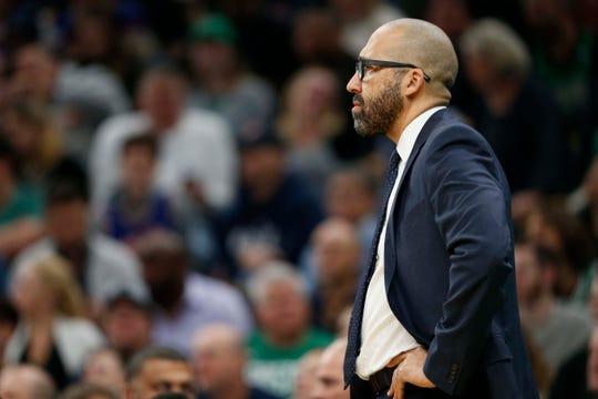 Dec 6, 2018; Boston, MA, USA; New York Knicks head coach David Fizdale during the first half against the Boston Celtics at TD Garden.