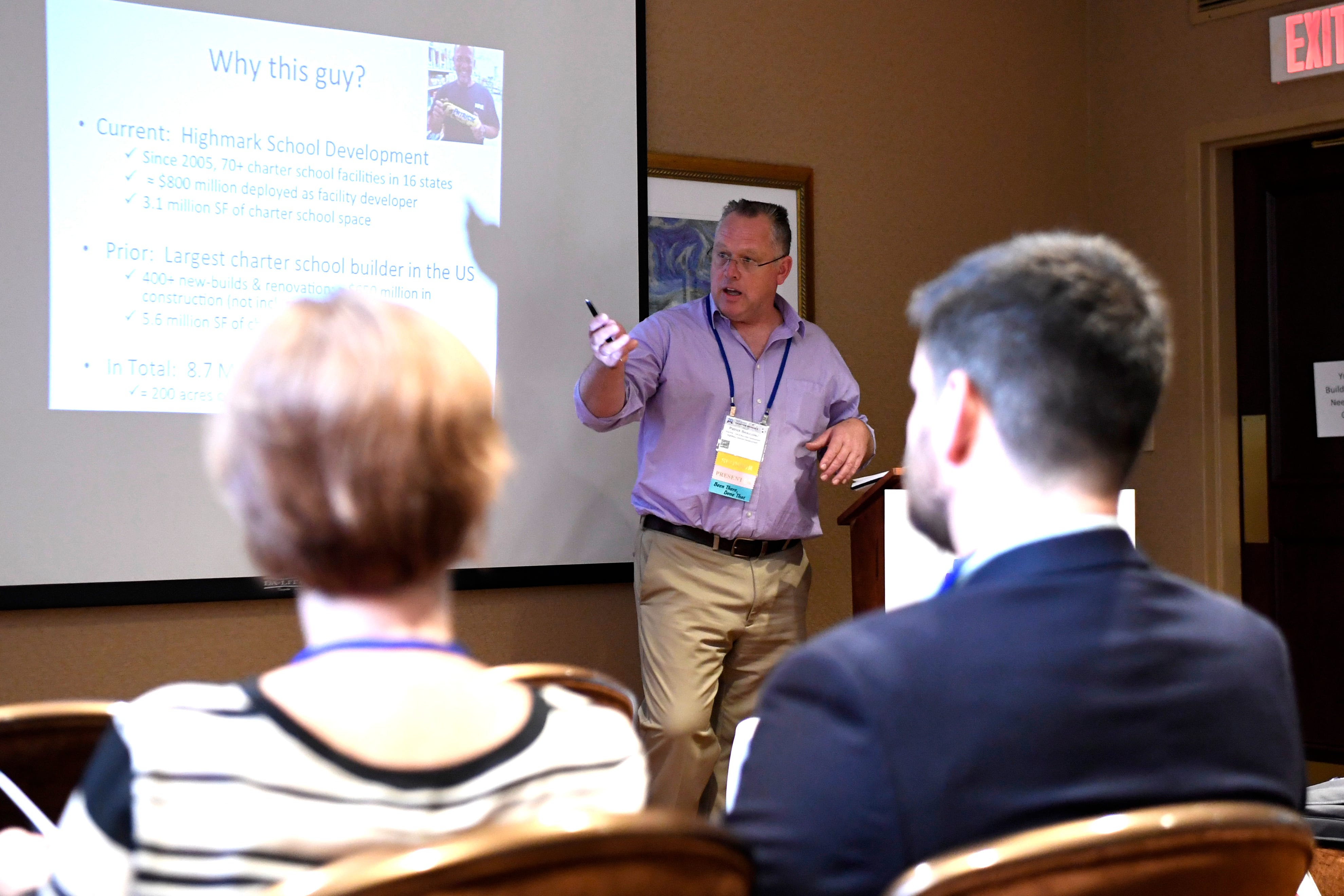 Patrick Beausoleil, vice president of business development for HighMark School Development, speaks to charter operators about what's realistic when planning, designing and building a school during the New Jersey Charter Schools Association's annual conference in Newark in October 2017.