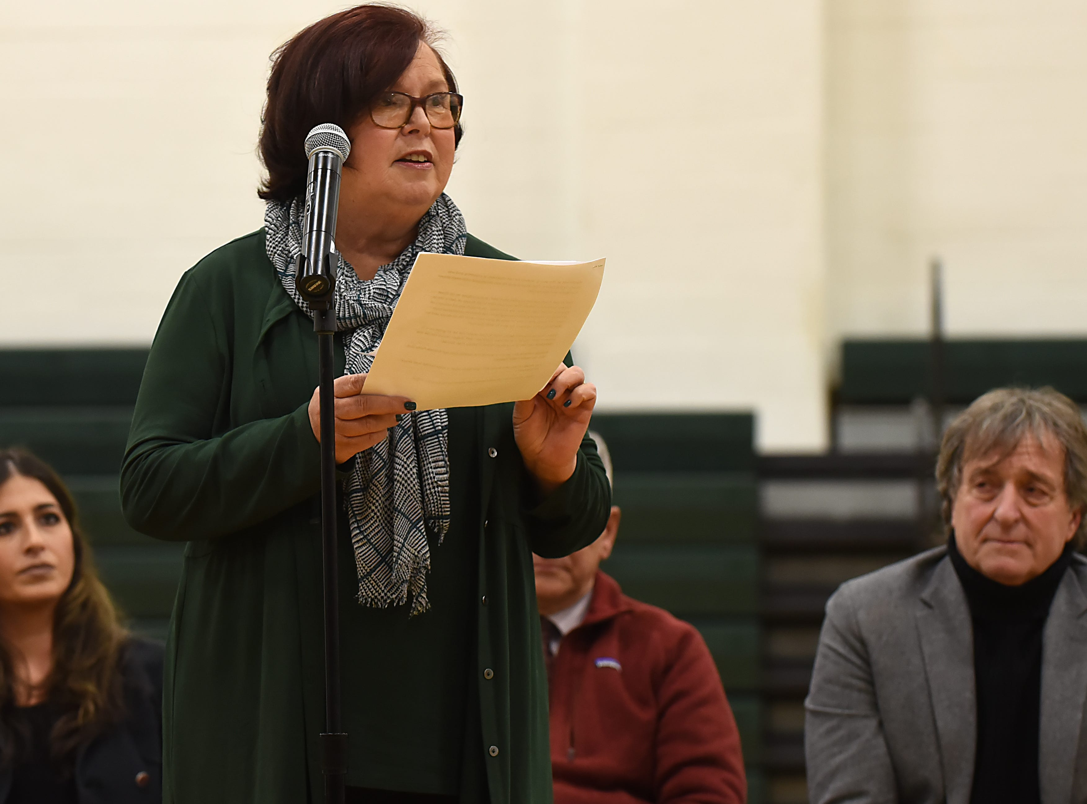 "Coach Jeff Jasper is honored with the naming of the PV Basketball Court ""Jasper Court"" in Hillsdale  on Thursday December 6, 2018. Lois Jasper, Jeff Jasper's wife, gives a speech during the event."