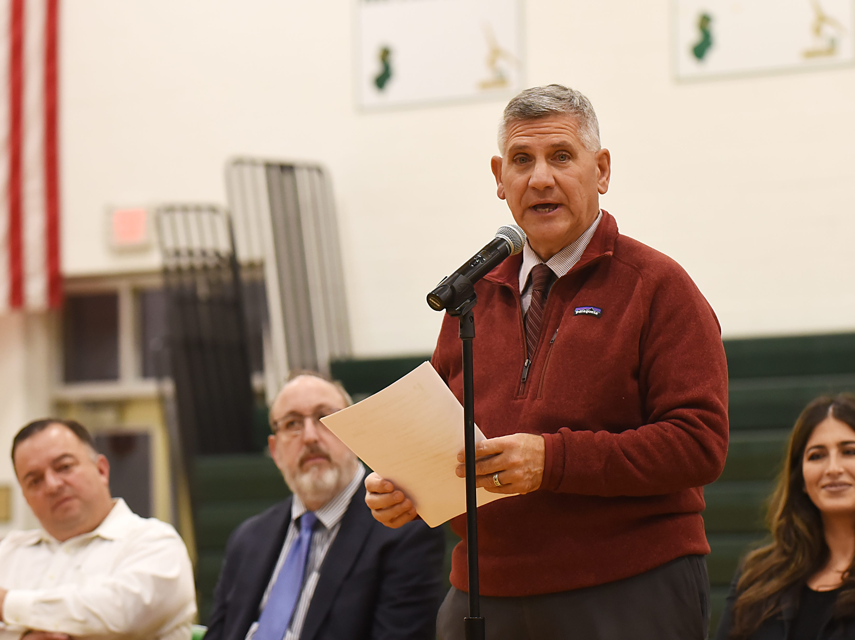 "Coach Jeff Jasper is honored with the naming of the PV Basketball Court ""Jasper Court"" in Hillsdale  on Thursday December 6, 2018. Principal Thomas DeMaio speaks during the event."