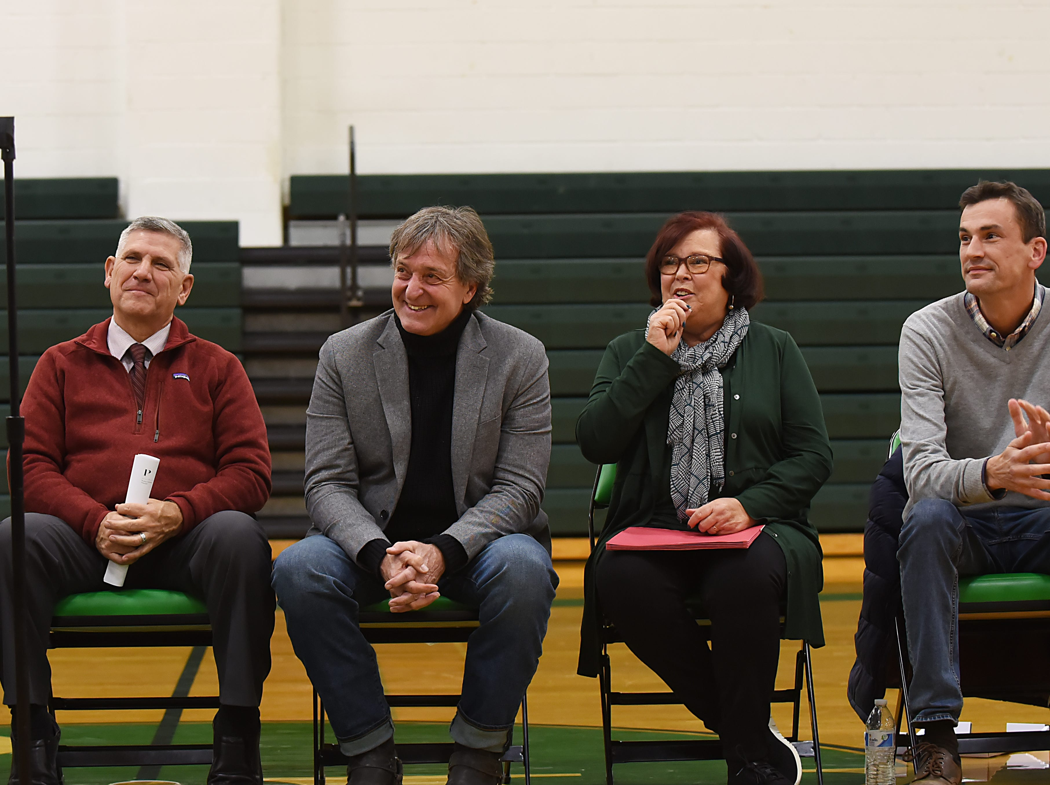 "Coach Jeff Jasper is honored with the naming of the PV Basketball Court ""Jasper Court"" in Hillsdale  on Thursday December 6, 2018."