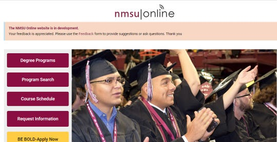 Screenshot of a website under development for what will be NMSU's online education portal, presented to NMSU regents at their meeting on Dec. 7.
