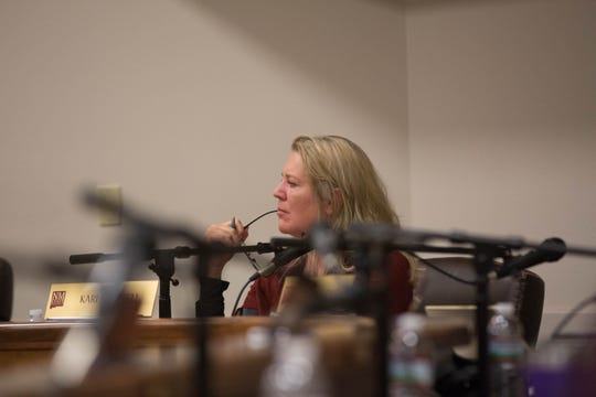 "NMSU regent Kari Mitchell was the lone ""no"" vote on tuition rates for NMSU Online, although she expressed enthusiasm for the program, saying she wanted to see a full economic analysis before approving tuition or fees. Seen at the regents meeting on Friday, December 7, 2018."