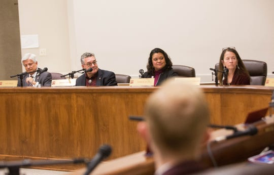 From left: Chancellor Dan Arvizo, President John Floros, and regents Margie Vela and Jerean Hutchinson during the Dec. 7 regents meeting.