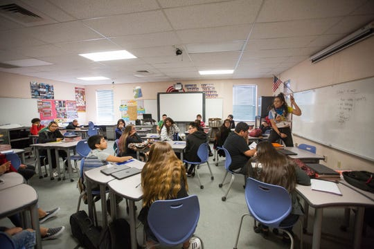 Celina Corral, right, of the Empowerment Congress , teaches a class on cultural diversity at Lynn Middle School, Wednesday, December 5, 2018.