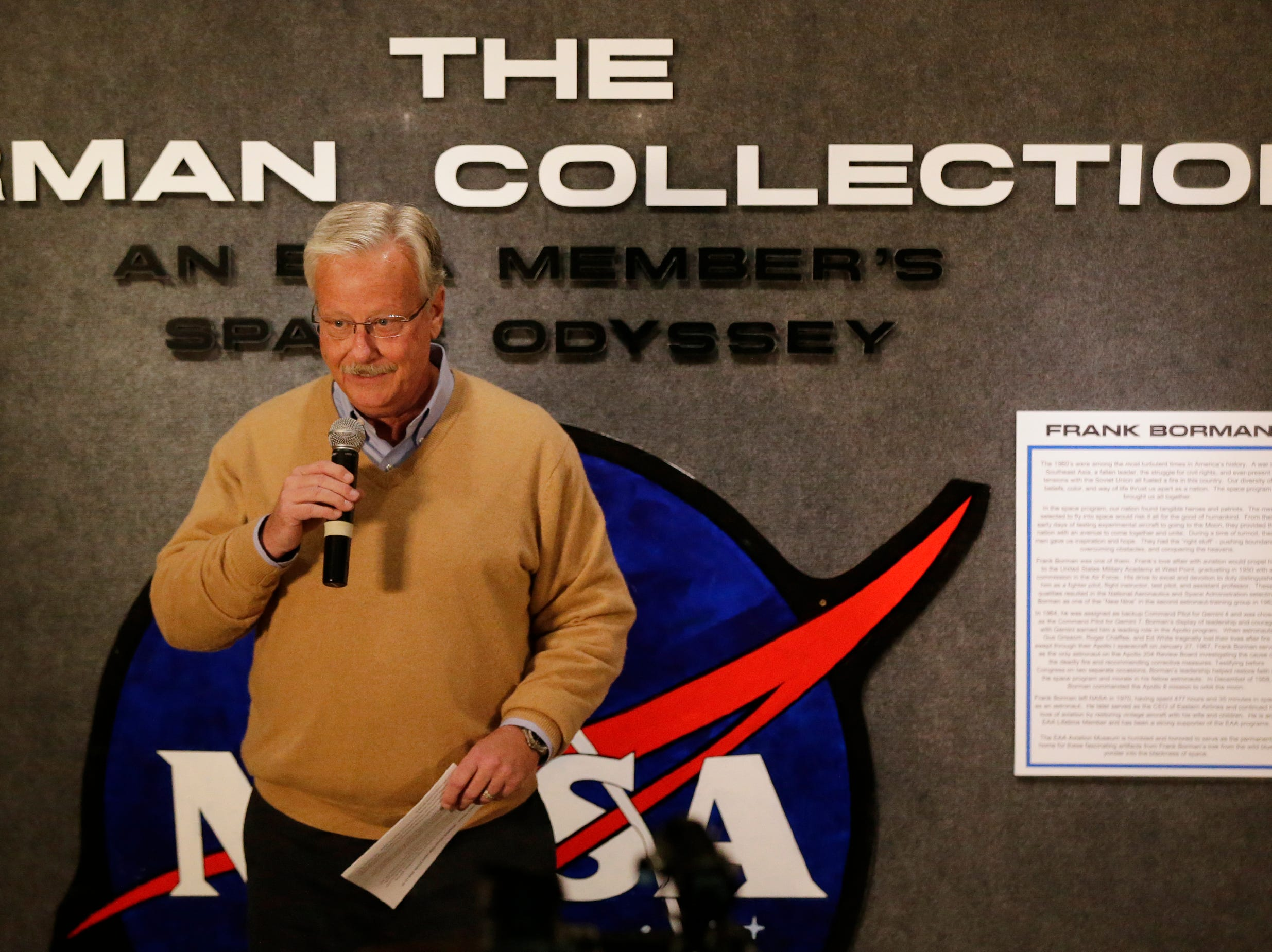 """EAA CEO/Chairman Jack Pelton introduced the collection and welcomed visitors.  The EAA Aviation Museum in Oshkosh, Wis. has opened """"The Borman Collection: An EAA Member's Space Odyssey,"""" an exhibit that features the personal archives and memorabilia of astronaut Frank Borman, who was on the leading edge of America's space program through the 1960s. The new exhibit was formally opened with a ribbon cutting by Borman on Friday, December 7, 2018.Joe Sienkiewicz/USA Today NETWORK-Wisconsin"""