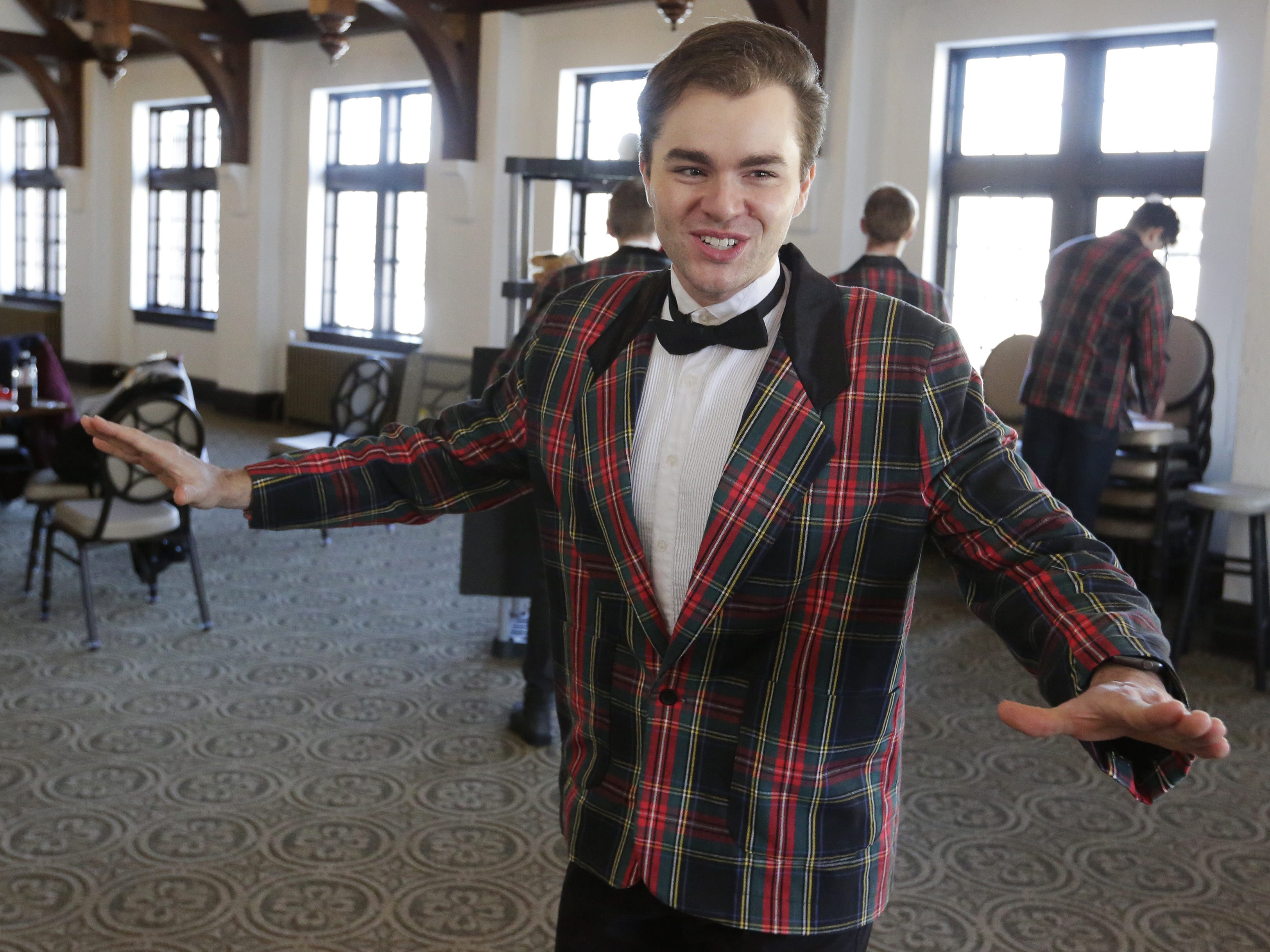 """Bryce Dutton rehearses Thursday, Dec. 6, 2018, for the dinner theater presentation """"Forever Plaid: Plaid Tidings,"""" which opens Dec. 13, 2018, at The Howard in Oshkosh."""