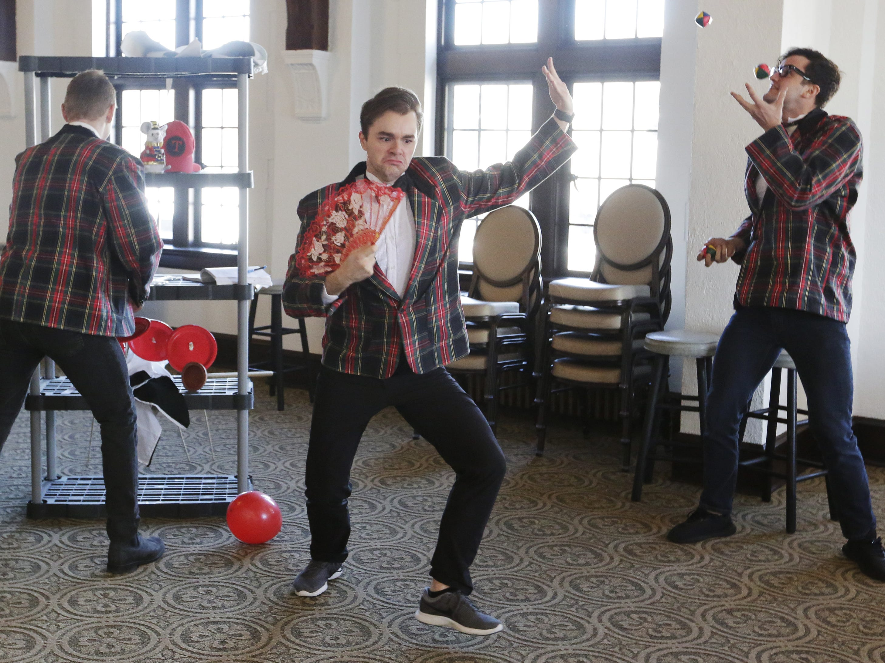 """Brian Krinsky, Bryce Dutton, and Carver Duncan rehearse Thursday, Dec. 6, 2018, for the dinner theater presentation """"Forever Plaid: Plaid Tidings,"""" which opens Dec. 13, 2018, at The Howard in Oshkosh."""