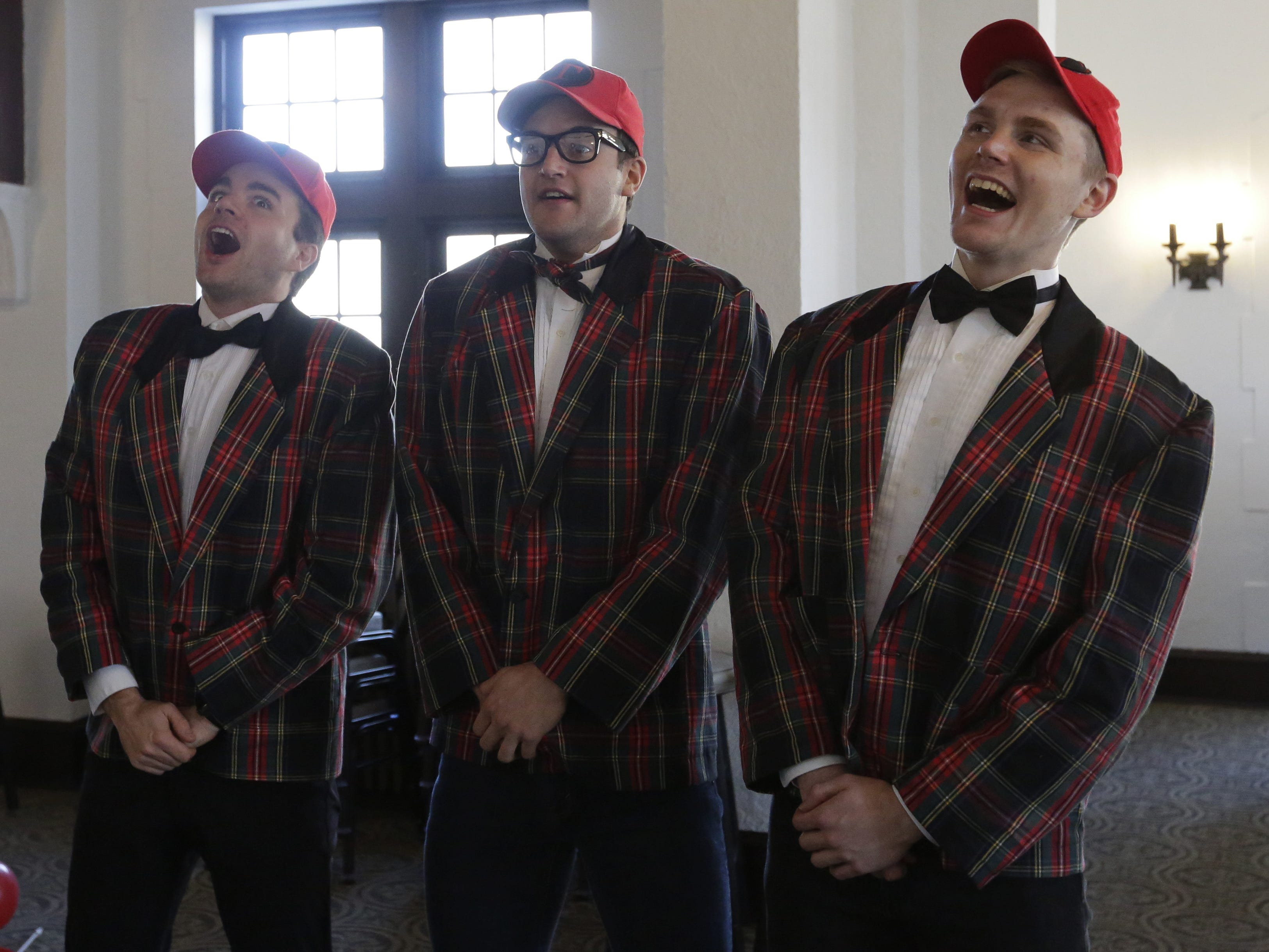 """Carver Duncan, Brian Krinsky, and Bryce Dutton rehearse Thursday, Dec. 6, 2018, for the dinner theater presentation """"Forever Plaid: Plaid Tidings,"""" which opens Dec. 13, 2018, at The Howard in Oshkosh."""