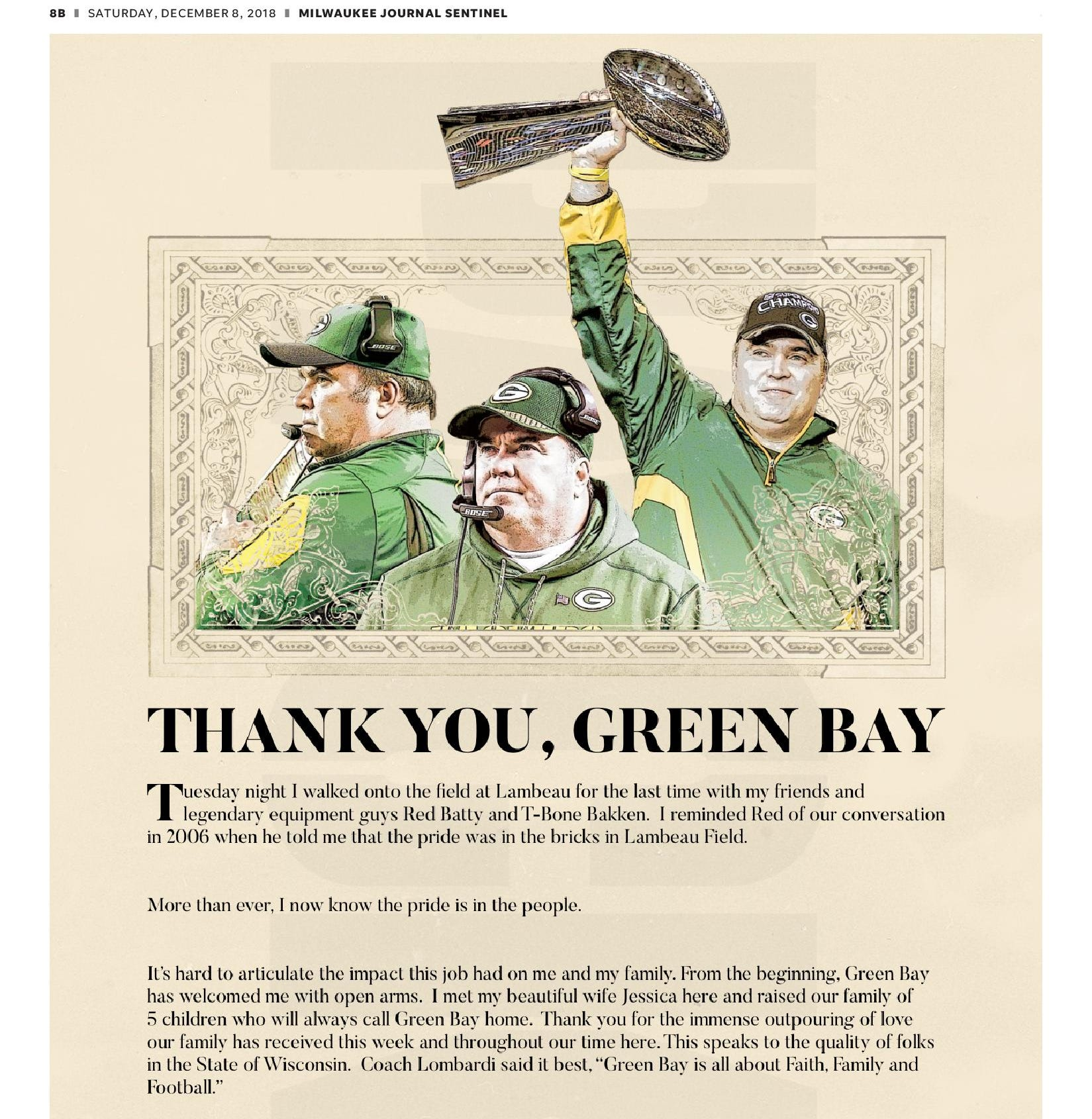 Mike McCarthy takes out a full-page ad to show his appreciation for the Green Bay faithful
