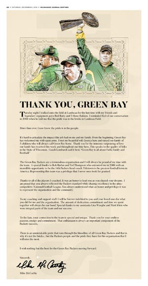 Mike McCarthy took out a full page advertisement thanking the fans of Green Bay.
