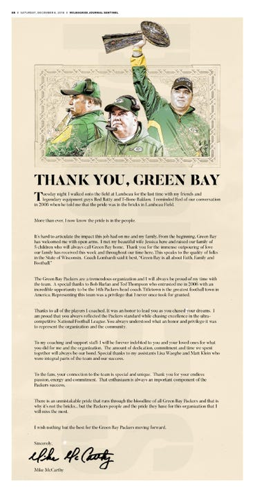 Mike McCarthy took out a full page ad to thank Packers fans
