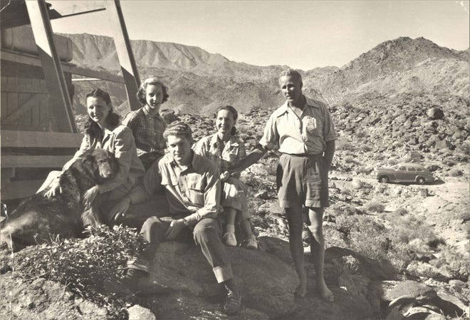 Tommy and Doris Tomson, daughters Kay and Duchess, and son-in-law Walter at Hot Rocks, above Palm Desert in 1948