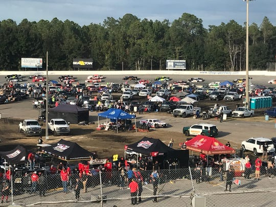 Part of the mass infield scene before start of last Sunday's 51st Snowball Derby .