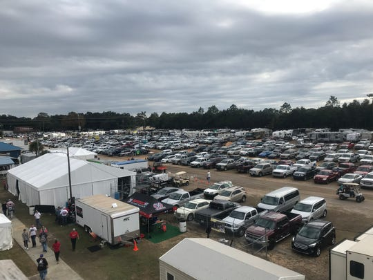 The parking area outside Five Flags Speedway was filled with trucks, cars, campers for the Snowball Derby. The event has generated millions in sports tourism