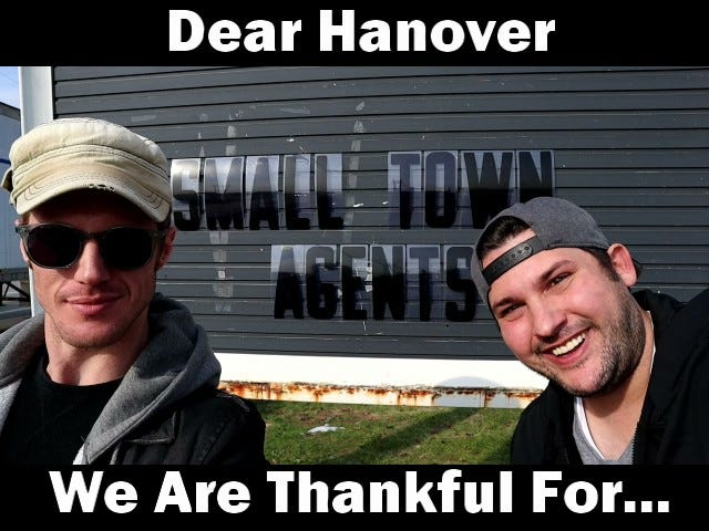 Jim Ling and Colin Cameron, from left to right, in their video highlighting what they love about Hanover.