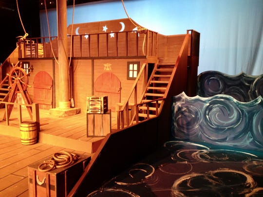 """A pirate ship and rough seas for Greasepaint Youtheatre's """"How I Became a Pirate."""""""