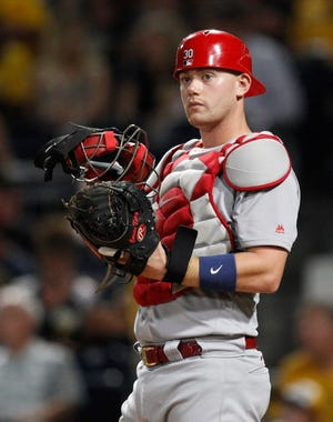 Aug 18, 2017; Pittsburgh, PA, USA;  St. Louis Cardinals catcher Carson Kelly (30) behind the plate against the Pittsburgh Pirates during the eighth inning at PNC Park. Mandatory Credit: Charles LeClaire-USA TODAY Sports