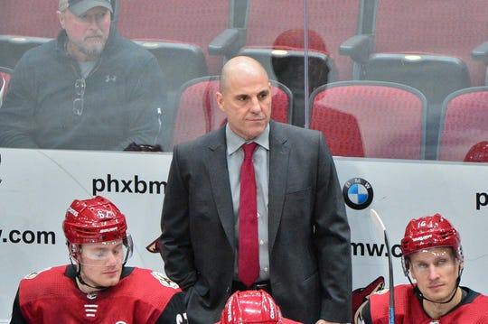 Dec 6, 2018; Glendale, AZ, USA; Arizona Coyotes head coach Rick Tocchet looks on during the first period against the Washington Capitals at Gila River Arena. Mandatory Credit: Matt Kartozian-USA TODAY Sports