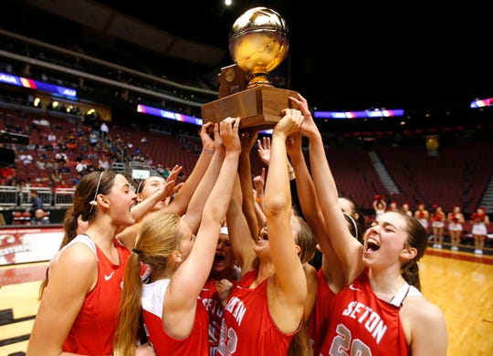 Seton celebrates after winning high school girls basketball 4A Conference state championship game at Gila River Arena in Glendale on Feb. 25, 2017.