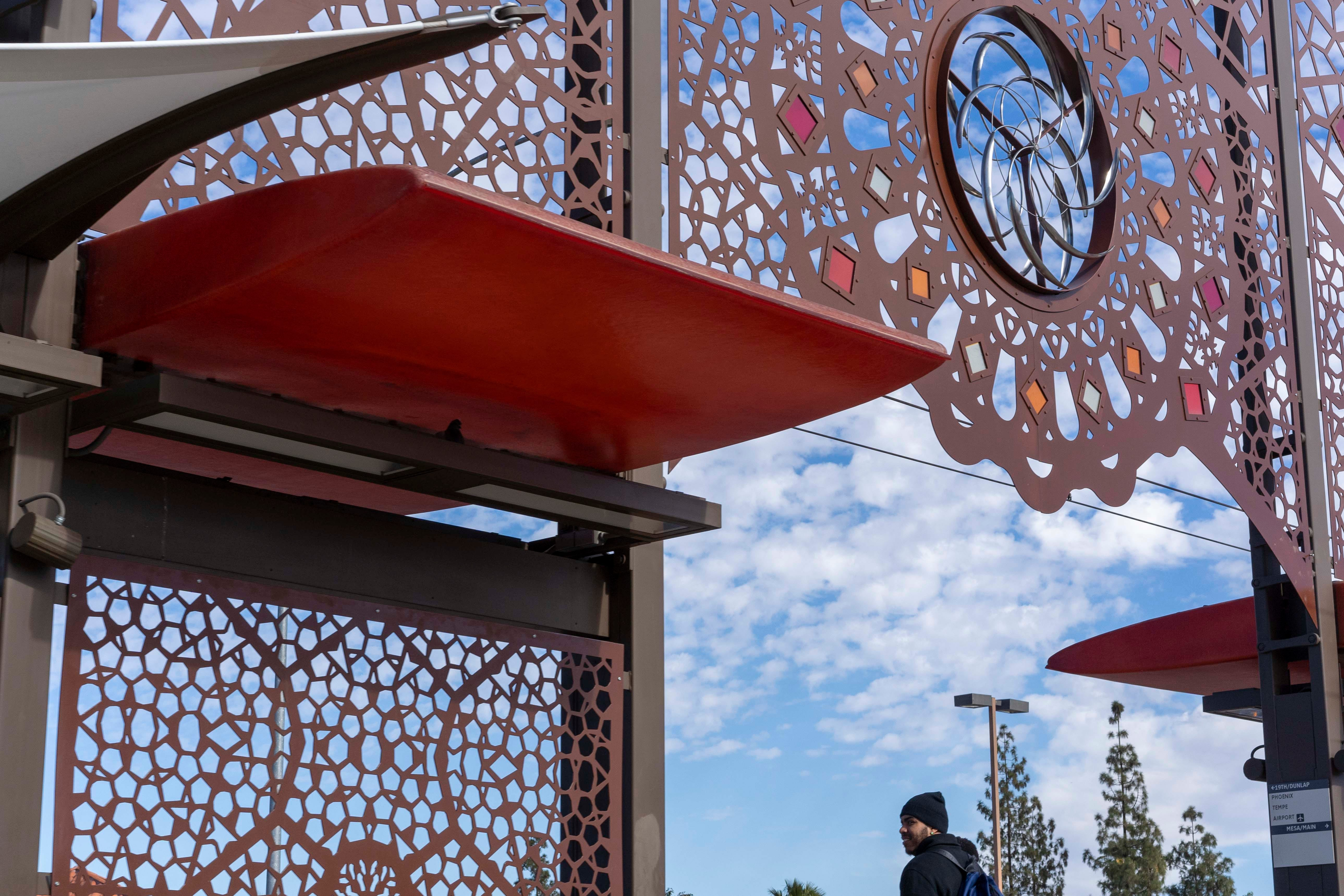 Public art can be seen at some light-rail stops around the Valley, including Tempe.