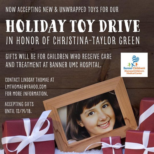 A holiday toy drive in honor of Christina-Taylor Green for children at Banner Children's Diamond Children's Medical Center in Tucson is underway.