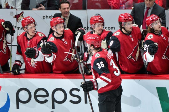 Coyotes right wing Christian Fischer celebrates with teammates after scoring a goal against the Capitals on Thursday.