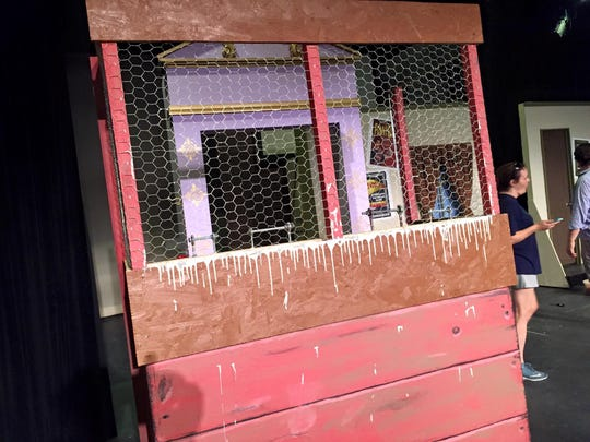 "A pigeon coop for Greasepaint Youtheatre's ""The Producers."""