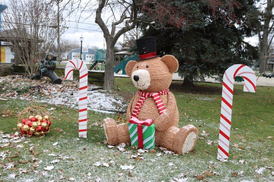 This large bear display was donated by a Lowe's store in Fremont after an employee heard that the Village of Elmore was threatened with a lawsuit over its nativity scene on public property.