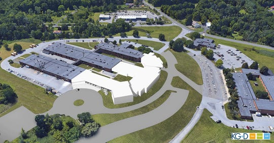 An aerial rendering of Dutchess BOCES proposed Career and Technical Institute building improvements on the Salt Point campus in Poughkeepsie.